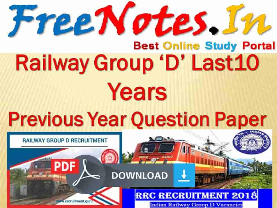 Railway Group 'D' Last 10 Years Previous Year Question Paper