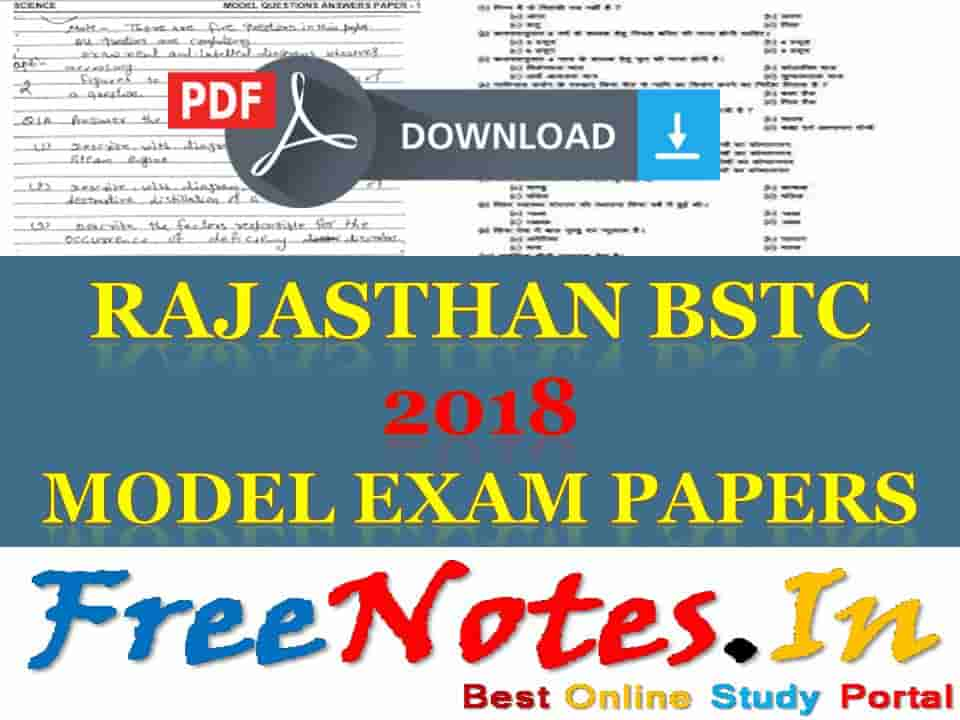 Rajasthan BSTC 2018 Model Exam Papers