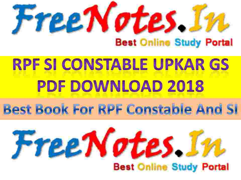 RPF SI Constable Upkar GS PDF