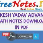 Rakesh Yadav Advance Math Notes Download