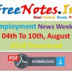 Employment News Weekly 04th 10th August 2018