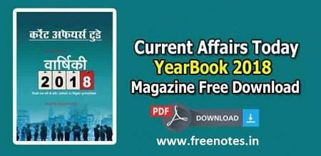 Last 1 Year Current Affairs MCQ 2018 Hindi PDF Download