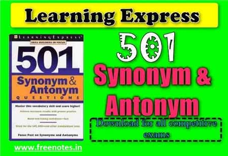 Synonym and Antonym 501 Questions book PDF Download