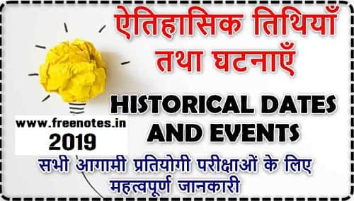 Important Historical dates and events Free PDF Download