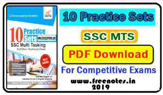 Disha Practice Sets For SSC MTS PDF Book 2019