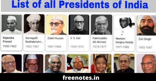 Indian President List PDF Download भारत के अब तक के हुए सभी राष्ट्रपति 2020