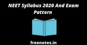NEET Syllabus 2020 And Exam Pattern