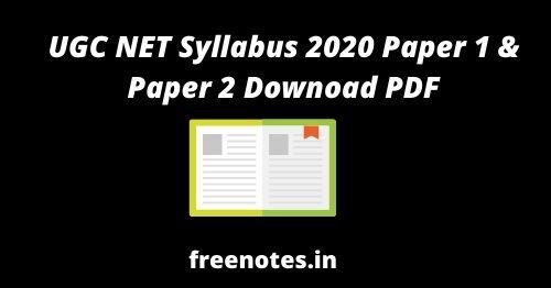 UGC NET Syllabus 2020 Paper 1 Downoad PDF