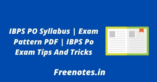 IBPS PO Syllabus Exam Pattern PDF IBPS Po Exam Tips And Tricks
