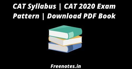 CAT Syllabus CAT 2020 Exam Pattern Download PDF Book