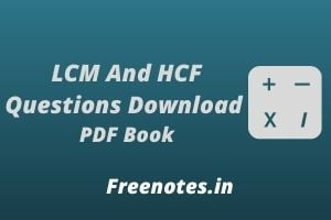 LCM And HCF Questions Download PDF Book