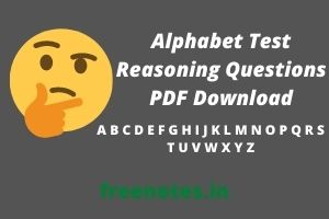 Alphabet Test Reasoning Questions PDF Download