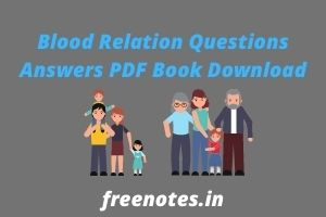 Blood Relation Questions Answers PDF Book Download