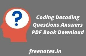 Coding Decoding Questions Answers PDF Book Download