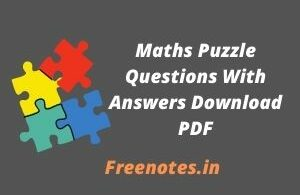 Maths Puzzle Questions With Answers Download PDF
