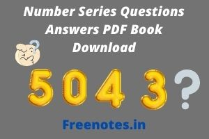 Number Series Questions Answers PDF Book Download