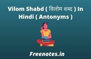 Vilom Shabd ( विलोम शब्द ) In Hindi ( Antonyms )