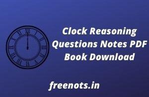 Clock Reasoning Questions Notes PDF Book Download
